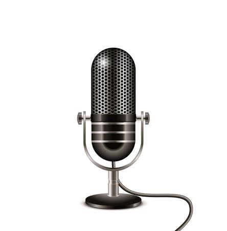 Retro microfoon met draad. Op de lucht vector illustratie Stock Illustratie
