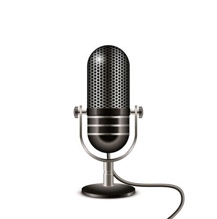 Retro microphone with wire. On the air vector illustration Çizim