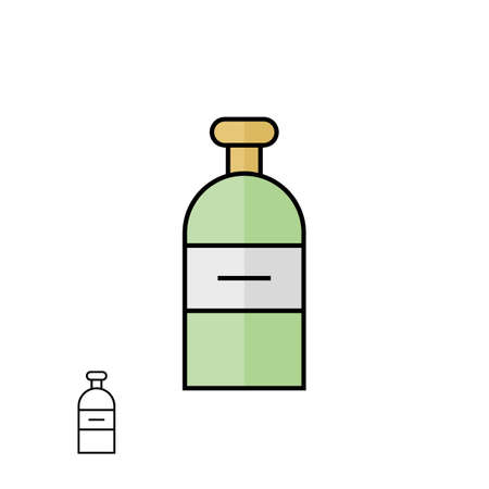 plastic material: Plastic bottle container of shower gel or shampoo. Material design and linear vector icon Illustration