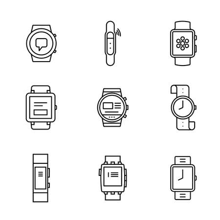 computerized: Smart watches linear icon set. Wearable electronic devices. Simple outlined icons. Linear style Illustration