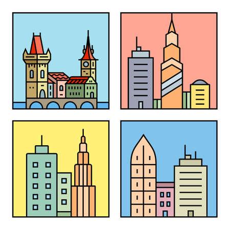 czech: Urban vector city skyline and buildings. Cityscape icons. Vector city skyline and buildings
