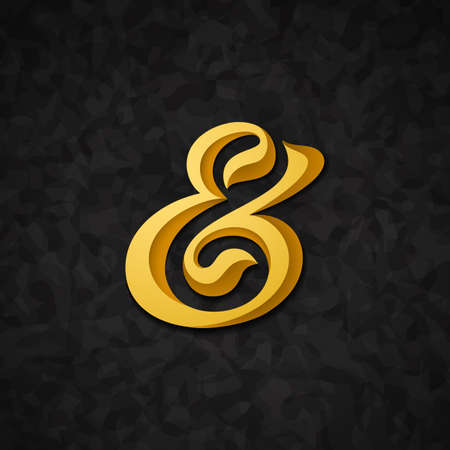 ligature: Custom decorative ampersand on abstract background. Vector illustration