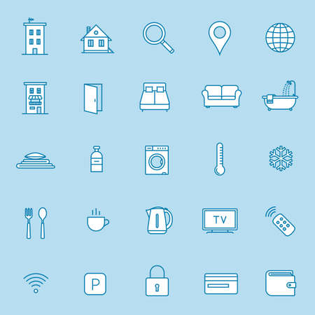 hotel hall: Rent out lodging and accommodation booking icon set. Vector illustration
