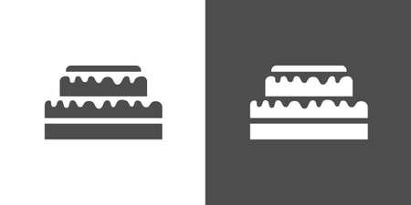 gateau: Icona della torta. Versione a due toni di torta su sfondo bianco e nero Vettoriali