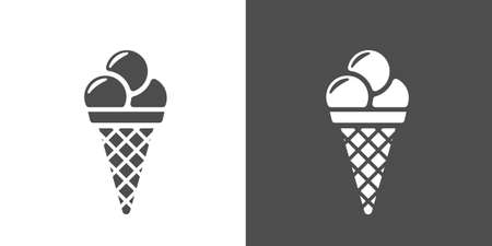 Ice-cream cone icon. Two-tone version of icecream vector icon on white and black background