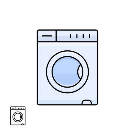 laundering: Washing machine icon. Material design and linear vector icon