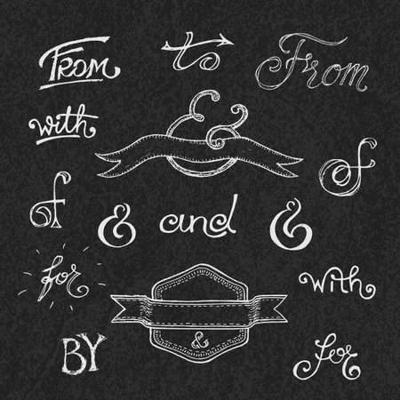 hand set: Collection of handwritten catchwords and ampersands. Vector illustration