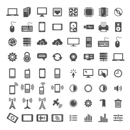 simplus: Simplus icons series. Network and mobile devices. 64 universal vector icons