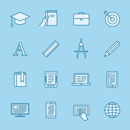laptop computer: Remote education linear icons. Simple outlined e-learning icons. Linear style