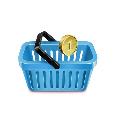purchasing power: Shopping basket and coin. Purchasing power parity. Vector illustration