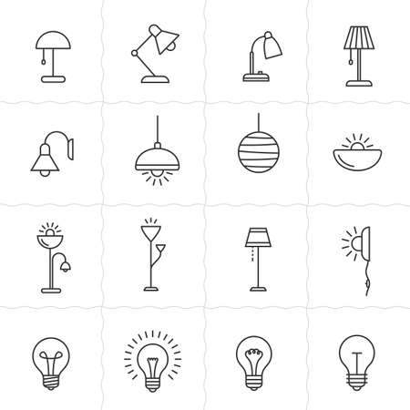 lightings: Light fixture linear icon set. Lamps and lighting devices. Simple outlined icons. Linear style