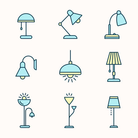 fixtures: Light fixtures icon set. Lamps, chandeliers and other lighting devices. Linear material design style