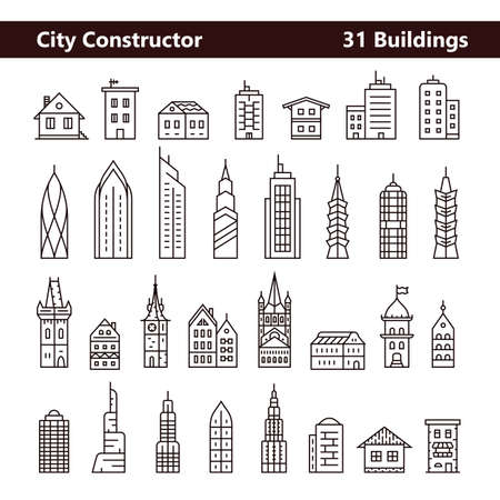old town: Cityscape constructor and City builder. Urban city and old town skyline and buildings. Collection of building icons made in liner style Illustration