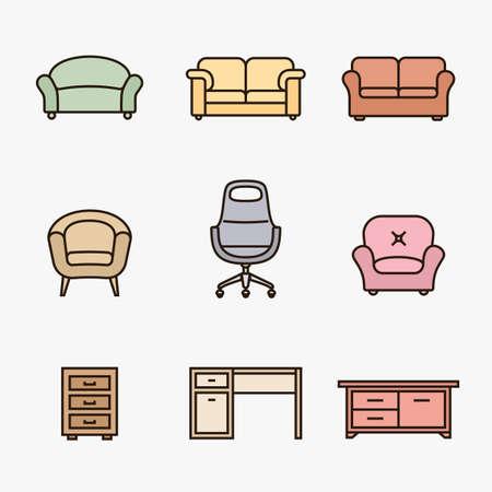 Colección de iconos de muebles. Icono minorista de muebles. Estilo de diseño de material lineal Foto de archivo - 45629957