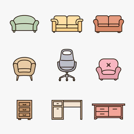 wood furniture: Collection of furniture icons. Furniture retailer icon set. Linear material design style Illustration