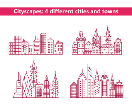 cityscape: Linear cityscapes. Four different cities and towns. Urban city and old town skyline and buildings