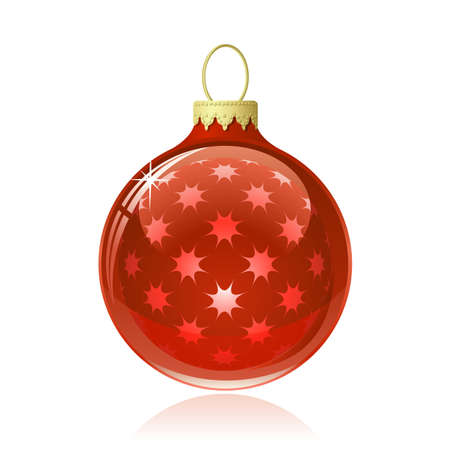 reflections: Red Christmas ball. Christmas bauble with star shapes and reflections. Vector illustration