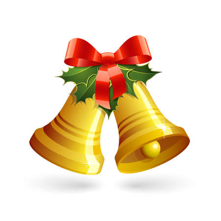 christmas gifts: Christmas golden bells with holly and red bow. Vector illustration Illustration