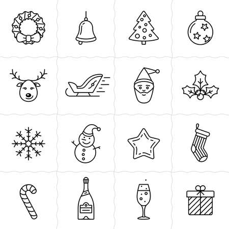 hubcap: Christmas icon set. Simple outlined icons. Linear style Illustration