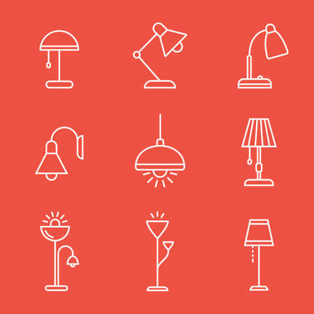 suspender: Light fixture linear icon set. Lamps and lighting devices. Simple outlined icons. Linear style