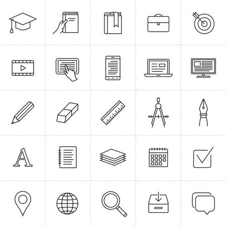 postgraduate: Education linear icons. Simple outlined education and e-learning icons. Linear style