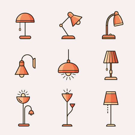 fixtures: Light fixtures icon set. Lamps, chandeliers and other lighting devices. Material design style Illustration