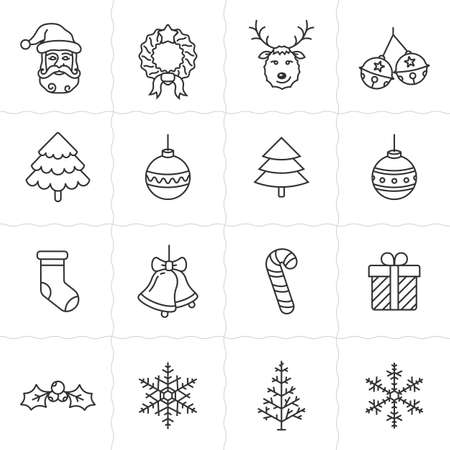 Christmas icon set. Simple outlined icons. Linear style Illustration