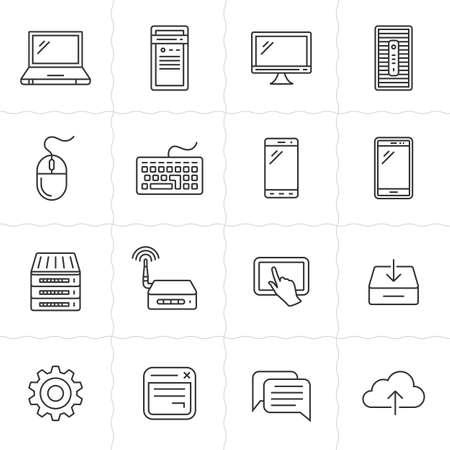 Netwerk en mobiele apparaten. Netwerk connecties. Simplus geschetst pictogrammen. Lineaire stijl Stock Illustratie
