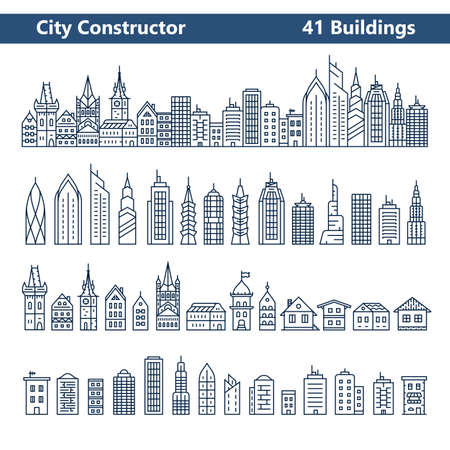 estilo urbano: Constructor de la ciudad. horizonte de la ciudad y 41 edificios. Colección de iconos de construcción en el estilo de línea