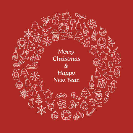 hollyberry: Merry Christmas and Happy New Year wreath greeting card. Christmas wreath with small Christmas symbols. Vector Illustration