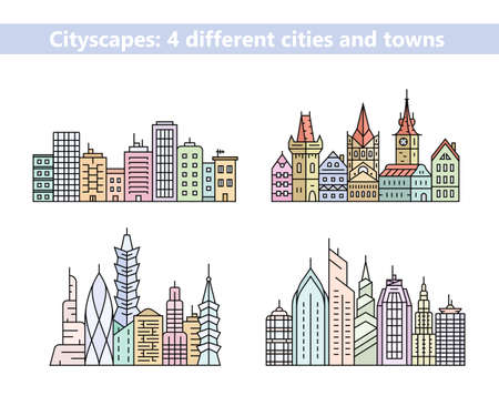 old town: Linear cityscapes. Urban city and old town skyline and buildings. Vector illustration