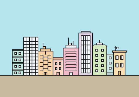 people in line: City skyline. Town buildings vector illustration
