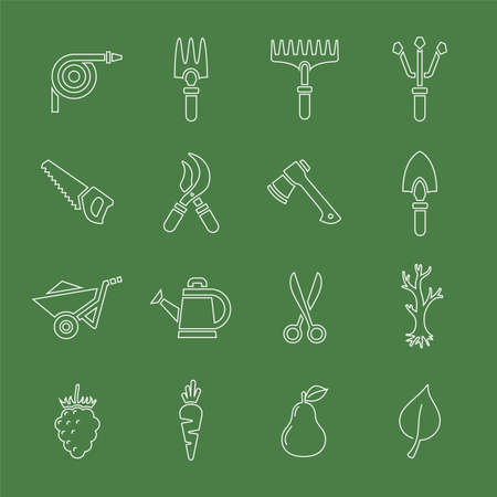 mattock: Vector illustration of garden tools. Simple outlined icons of gardening. Linear style Illustration