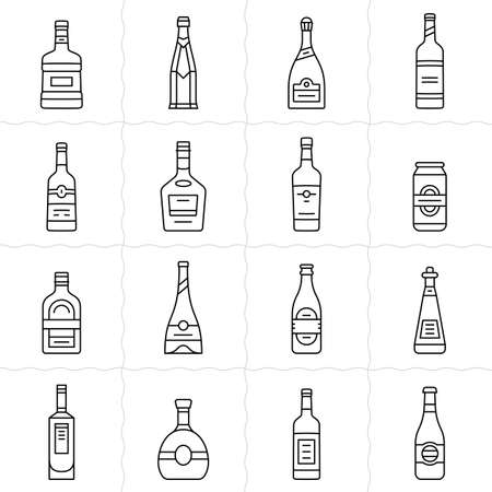 cabernet: Different types of alcohol bottles. Simple outlined vector icon set of alcohol bottles. Linear style Illustration