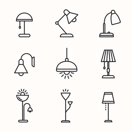 fixture: Light fixture linear icon set. Lamps and lighting devices. Simple outlined icons. Linear style