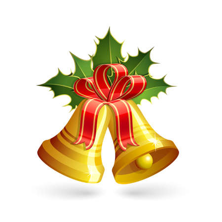 christmas bow: Christmas golden bells with holly and red bow. Vector illustration Illustration