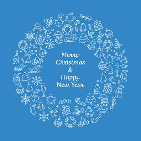 hubcap: Merry Christmas and Happy New Year wreath greeting card. Christmas wreath with small Christmas symbols. Vector Illustration