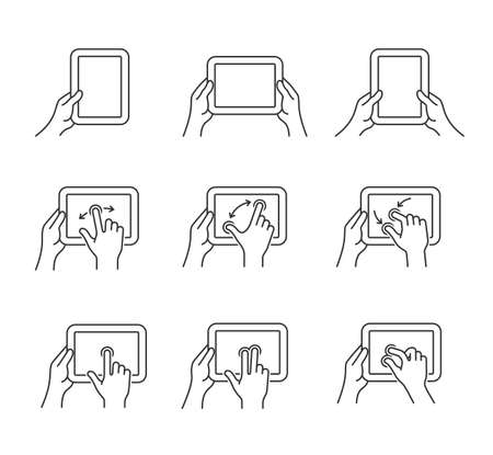 flick: Gesture icons for tablet touch devices. Simple outlined vector icon set for a mobile app user interface or manual. Linear style Illustration