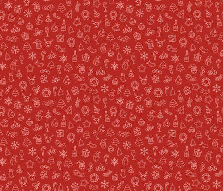 hollyberry: Merry Christmas and Happy New Year vector seamless pattern. Christmas wreath with small Christmas symbols. Vector seamless Illustration