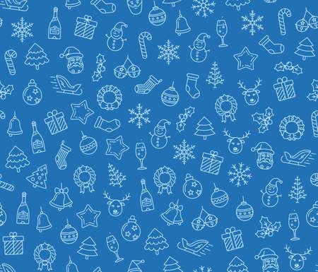 hubcap: Christmas vector seamless pattern. Christmas symbols on blue background. Vector seamless Illustration Illustration