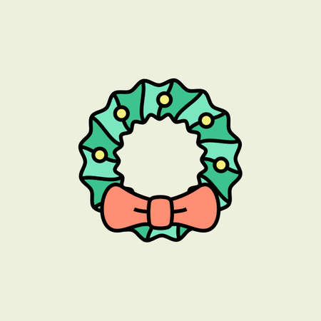 hollyberry: Christmas wreath icon. Vector icons. Linear style