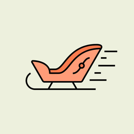 santa sleigh: Santa Sleigh Christmas icon. Vector icon. Linear style Illustration