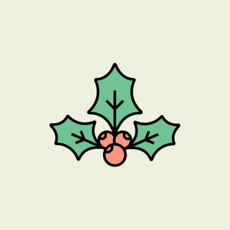 houx: Christmas holly ic�ne. Vector ic�ne. le style lin�aire Illustration