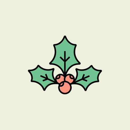 christmas icon: Christmas holly icon. Vector icon. Linear style