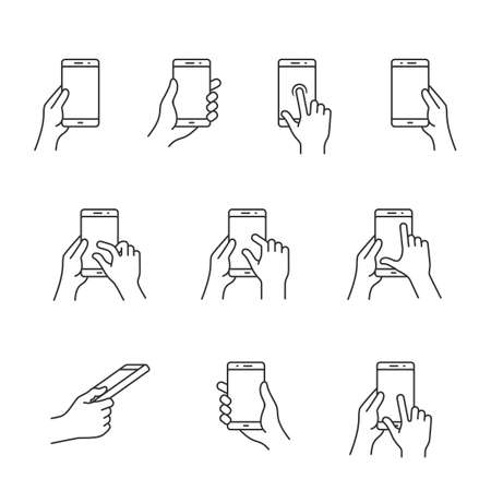 multi finger: Gesture icons for smartphones. Simple outlined vector icon set for a mobile app user interface or manual. Linear style