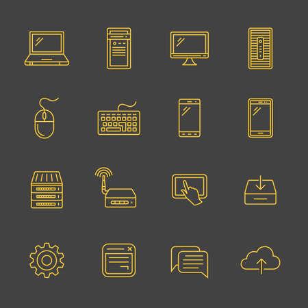 simplus: Dispositivos m�viles y la red. Conexiones de red. Simplus esboz� iconos. Estilo lineal