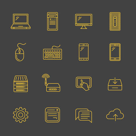 network: Network and mobile devices. Network connections. Simplus outlined icons. Linear style