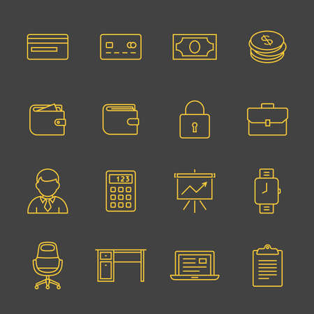 Financial and business icon set. Outline icons - money, finance and payments. Linear style Illustration
