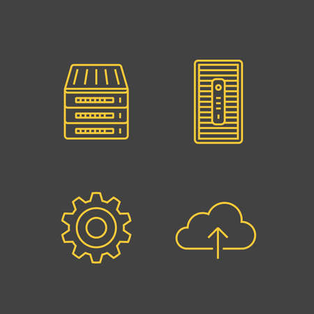 Network devices and hosting servers. Network connections. Simplus outlined icons. Linear style