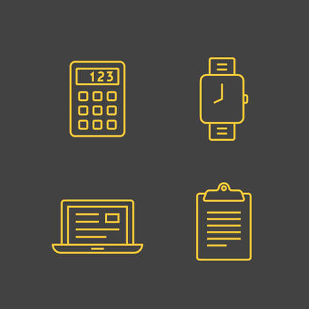 calc: Office icons. Outline vector icons. Linear style